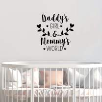 """Vinyl Wall Art Decal - Daddy's Girl and Mommy's World - 23"""" x 22.5"""" - Sweet Little Toddler Girls Baby Cute Love Home Apartment Nursery Playroom Kids Bedroom Quotes Decoration"""