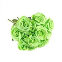 uxcell Artificial Silk Flower Fake Rose Bouquet Wedding Party Home Decor 12pcs Green