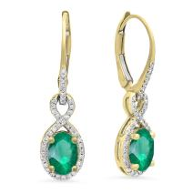Dazzlingrock Collection 14K 7X5 MM Each Oval Lab Created Gemstone & Round Diamond Dangling Drop Earrings, Yellow Gold