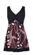 BET&FIT Womens Plus Size Tummy Control Swimdress One Piece Floral Swimwear Skirted Swimsuits Bathing Suits