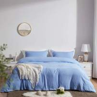SunStyle Home Queen Size Duvet Cover Set with Buttons Closure-Light Blue Washed 100% Microfiber,3 Pieces Solid Color Ultra Soft Skin-Friendly Comforter Cover Set,(1 Duvet Cover +2 Pillowcases)