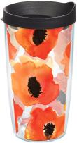 Tervis 1243376 Watercolor Poppy Tumbler with Wrap and Black Lid 16oz, Clear