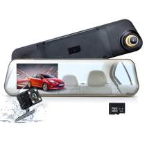 Mirror Dash Cam, WONYERED 1080P 4.3 Inch Car Camera Front and Rear Dash Cam with G-Sensor, Night Vision, Reversing Camera, Parking Monitor [8G TF Card Include]