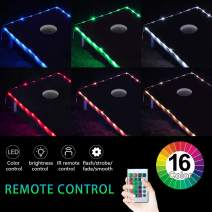 72 LED Cornhole Board Lights, USB Charging(Power Bank not Included) RGB Multicolor (16 in 1) and 4 Mode with Remote Control Fit for American Cornhole Association Official Size Cornhole Boards