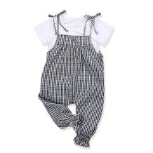 Toddler Baby Girl Clothes Striped Long-Sleeve Tee + Solid Overalls Set Loose Jumpsuit Outfits
