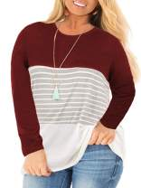 VISLILY Women's Plus Size Tops Long Sleeve Shirts Striped Color Block Tunics XL-4XL
