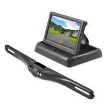 """Pyle Backup Rear View Car Camera Monitor Screen System - Parking & Reverse Safety Distance Scale Lines, Waterproof, Night Vision, Pop-up Display, 4.3"""" LCD Video Color Display for Vehicles - (PLCM4500)"""
