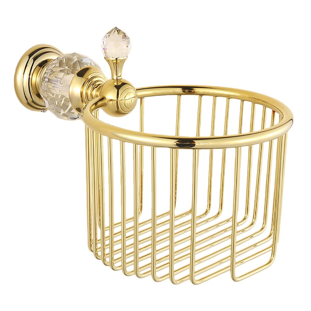 OWOFAN Toilet Paper Holder Bathroom Basket Paper Towel Storage Tissue Shelf Crystal Deco Wall Mounted Brass Gold, HK-35