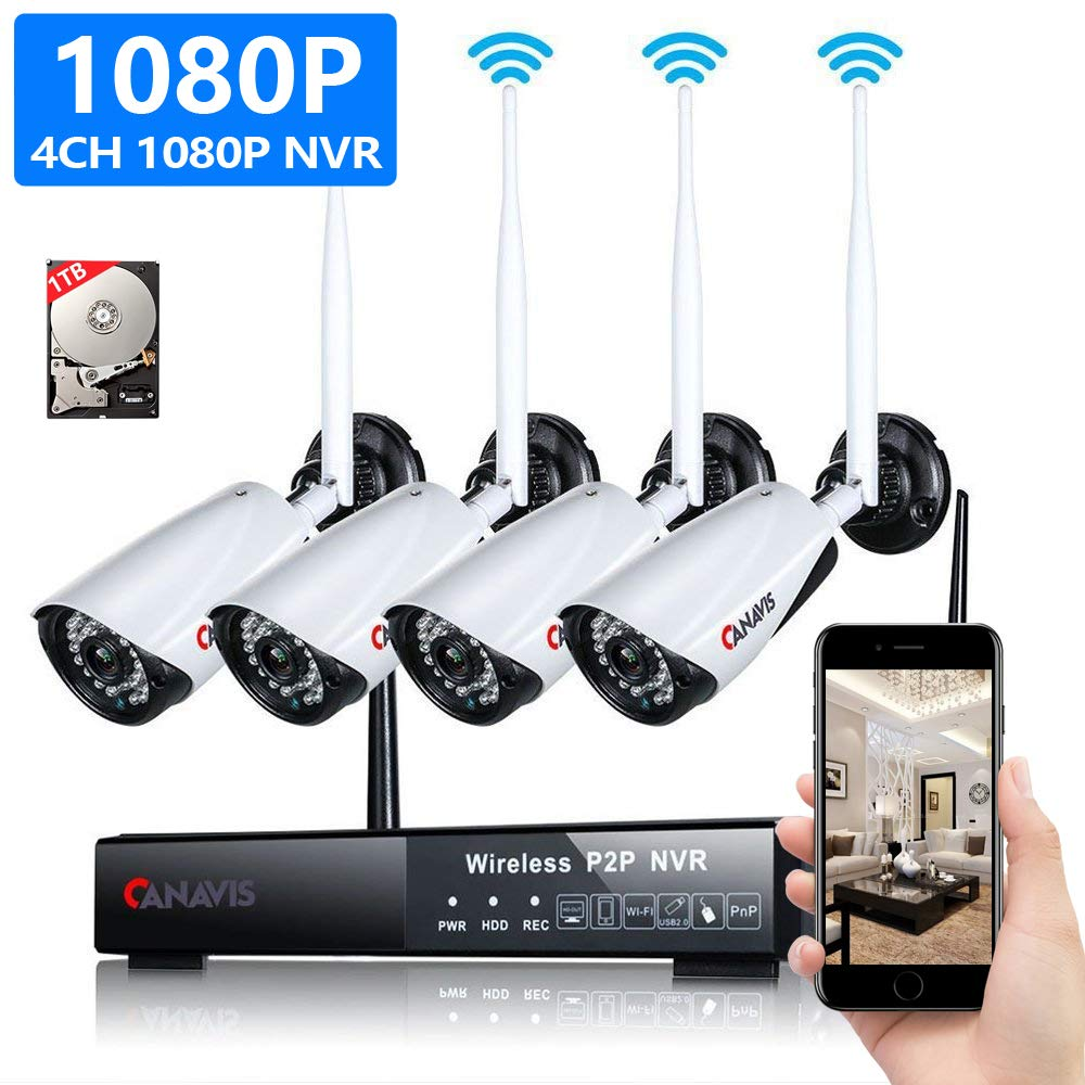 Camera Security System 4CH 1080p Auto Pair WiFi Network Video Recorder 4pcs FHD 2.0MP Outdoor Weatherproof Night Vision Wireless IP Camera Surveillance System Kit (4CH 1080P+1TB HDD)