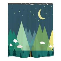 Ofat Home Green Mountain Forest Moon Star Cloud Kids Shower Curtain Sets with Hooks for Bathroom, Waterproof Fabric No Liner Needed, 72x72 inches