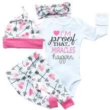 4 Pcs Newborn Baby Girls Pants Set Letter Romper Bodysuit Arrow Heart Pants Hat Headband Outfit Clothes