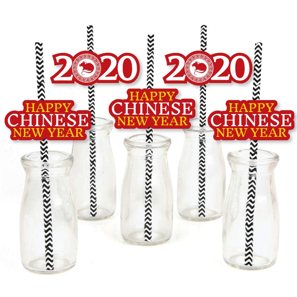 Big Dot of Happiness Chinese New Year - Paper Straw Decor - 2020 Year of the Rat Party Striped Decorative Straws - Set of 24