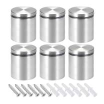 """uxcell 1-9/16 Dia x 1-11/16""""(40x43mm) Standoff Screws Wall Mount Sign Holders Acrylic Glass Nails with Screws 6pcs"""