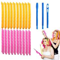 """Magic Hair Curlers Spiral Curls Styling Kit,20 No Heat Hair Curlers and 1 Styling Hooks,for extra long hair up to 22"""" (65cm)"""