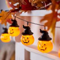 Lights4fun, Inc. 10 Halloween Pumpkin Lantern with Witches Hats Battery Operated LED Indoor Party String Lights