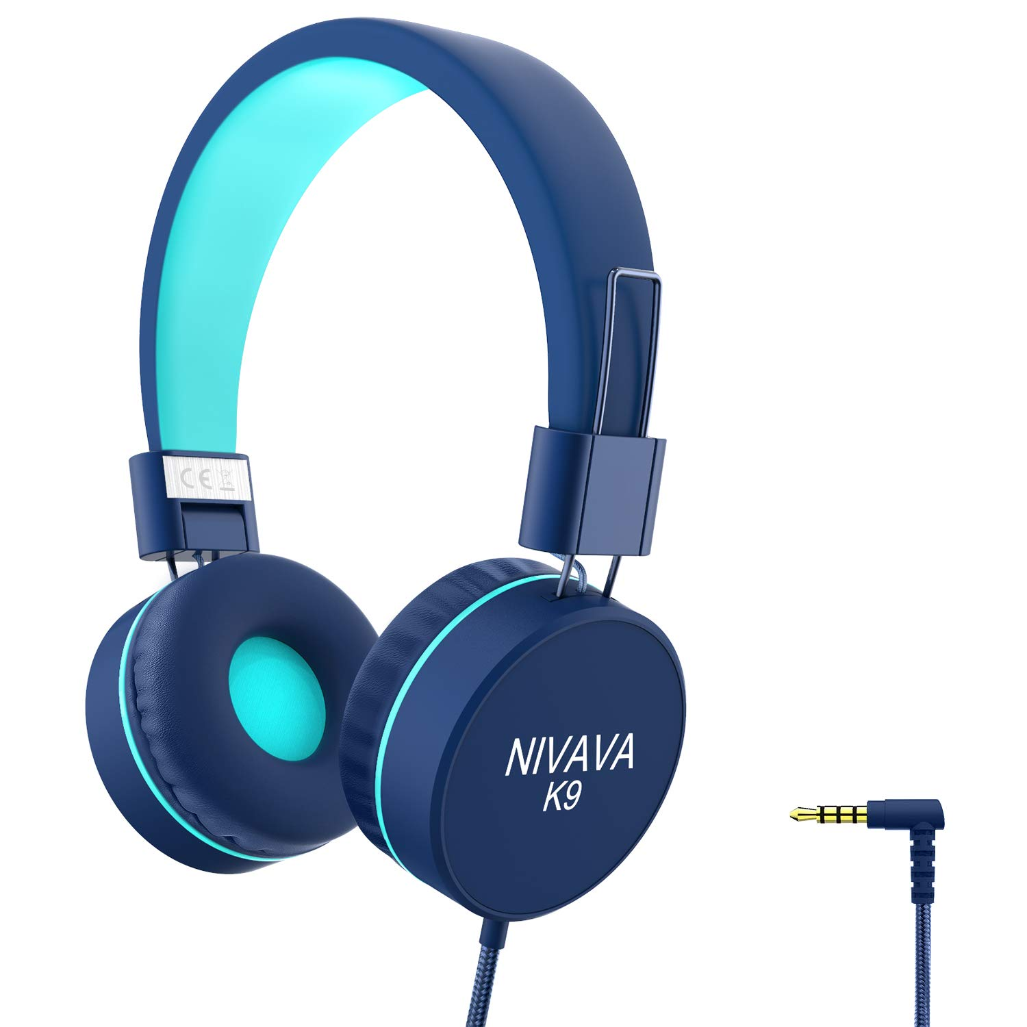 Nivava K9 Kids Headphones for Children Boys Girls Teens Wired 85dB Volume Limited Foldable Lightweight Stereo On Ear Headset for iPad Cellphones Computer MP3/4 Kindle Airplane School(Blue Mint Green)
