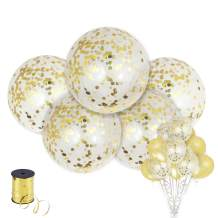 Shimmer and Confetti 15 Pack Large Gold Confetti Balloons with 5 Pieces 36-inch Confetti-Filled Balloons, 5 Pieces 12-inch Confetti-Filled Balloons and 5 Pieces Pearl Balloons with Foil Confetti