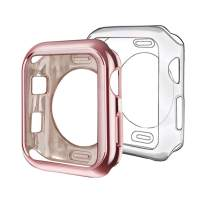 ISENXI Compatible with Apple Watch Case 38mm,2 Pack Soft TPU Ultra-Slim Lightweight Bumper Scratch Resistant Protective Cover Cases Compatible with Apple Watch Series 3 2 (2Pack(Clear+Rose Pink))