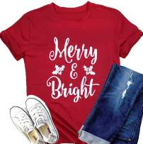 DUTUT Merry and Bright Christmas Lights T-Shirts Womens Letter Print Short Sleeve O-Neck Holiday Tops Tees