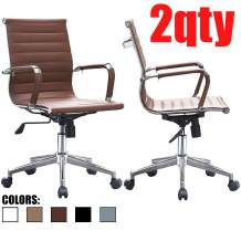 2xhome - Set of 2 Brown Modern Mid Back Ribbed PU Leather Swivel Tilt Adjustable Chair Designer Boss Executive Management Manager Office Conference Room Work Task Computer