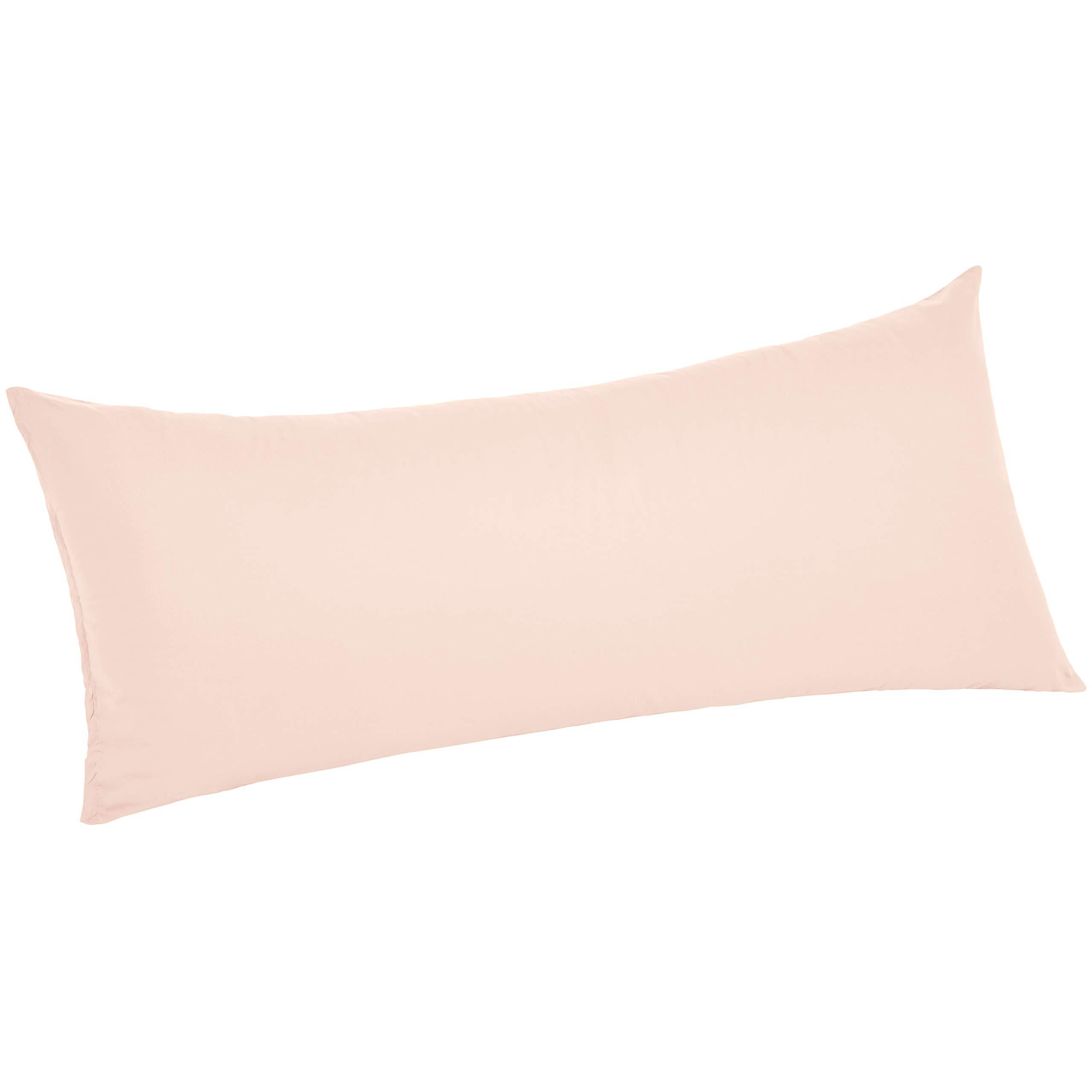 "AmazonBasics Ultra-Soft Body Pillow Cover Pillowcase, Breathable, Easy to Wash, 55"" x 21"", Blush"