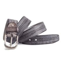 Mens Grey Belt for Jeans Real Full Grain Leather 1.5in Width Sizes 30-42in