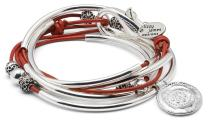 """Lizzy James Summer Silverplated 2 Strand Gloss Red Leather Wrap Bracelet (Large (6 5/8"""" - 7""""))"""