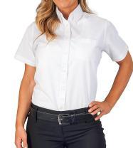 Womens Longer Tail Short Sleeve Oxford Shirt