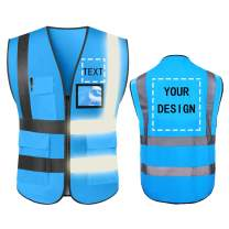 High Visibility Safety Vest Custom Your Logo Protective Workwear 5 Pockets With Reflective Strips Outdoor Work Vest (Blue (S))