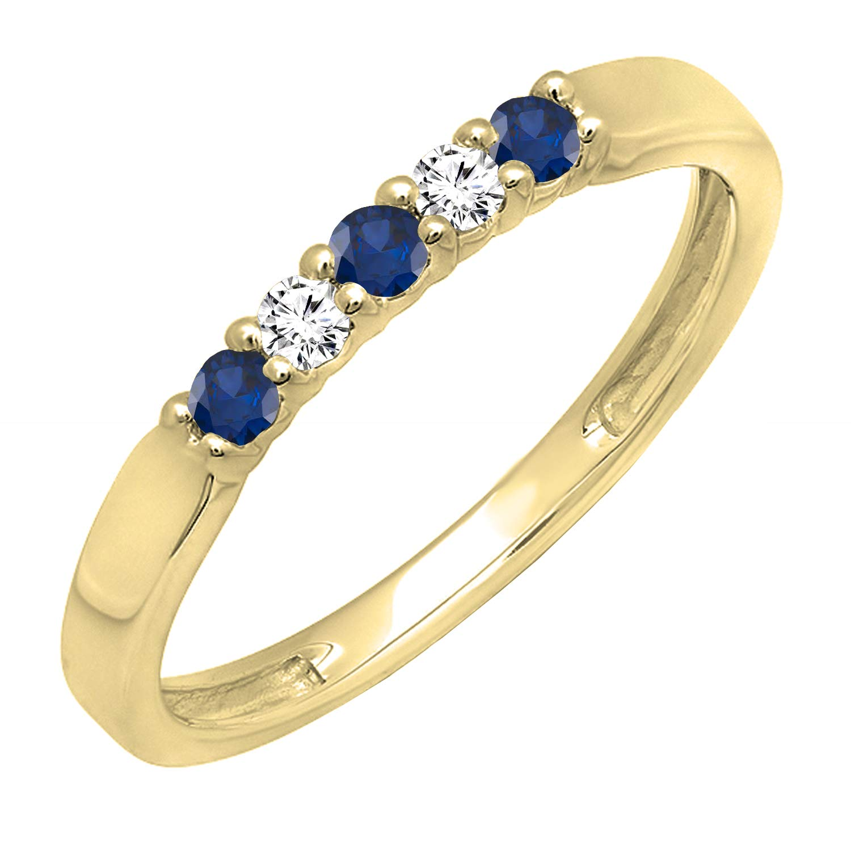 Dazzlingrock Collection 14K Round Gemstone & White Diamond 5 Stone Ladies Anniversary Wedding Band Ring, Yellow Gold