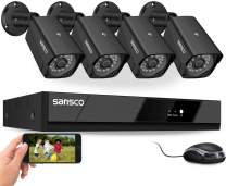 [8CH Expandable] SANSCO Pro CCTV Security Camera System with FHD 1080P DVR, 4 Bullet Cameras (All HD 1080p 2MP), Easy Remote Viewing, Motion Dectection, Instant Push Alerts - Hard Drive Not Included