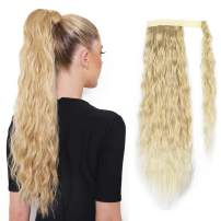 SEIKEA 24 Inch Clip in Ponytail Extension Wrap Around for Women Long Wavy Curly Hair Fluffy Pony Tail - Creamy Blonde with Highlight)