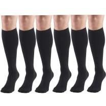 Compression Socks, 8-15 mmHg, Men's Dress Socks, Knee High Over Calf Length Black Medium (6 Pairs)