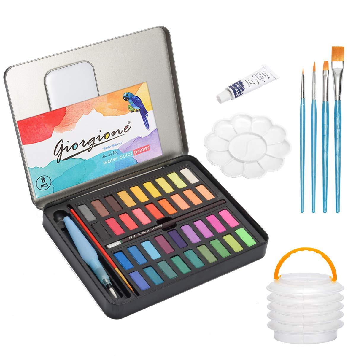Watercolor Paint Set, Frunsi Professional 36 Assorted Watercolors Travel Pocket Solid Watercolor Kit with Water Brush Pen, Watercolor Paper, Watercolor Kit for Sketching Painting Coloring Drawing Art