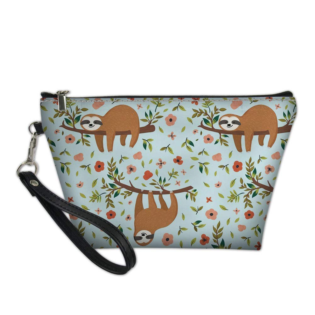 Amzbeauty Women's Cute Sloth Leather Makeup Bag Purse Toiletry Pouch Travel Cosmetic Bags with Zipper Handle