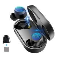 Wireless Earbuds Bluetooth 5.0 with Wireless Charging Case IPX5 Waterproof TWS Stereo Headphones in Ear Built in Mic Headsets Premium Sound Earphones Noise Cancelling with Deep Bass for Sport Black