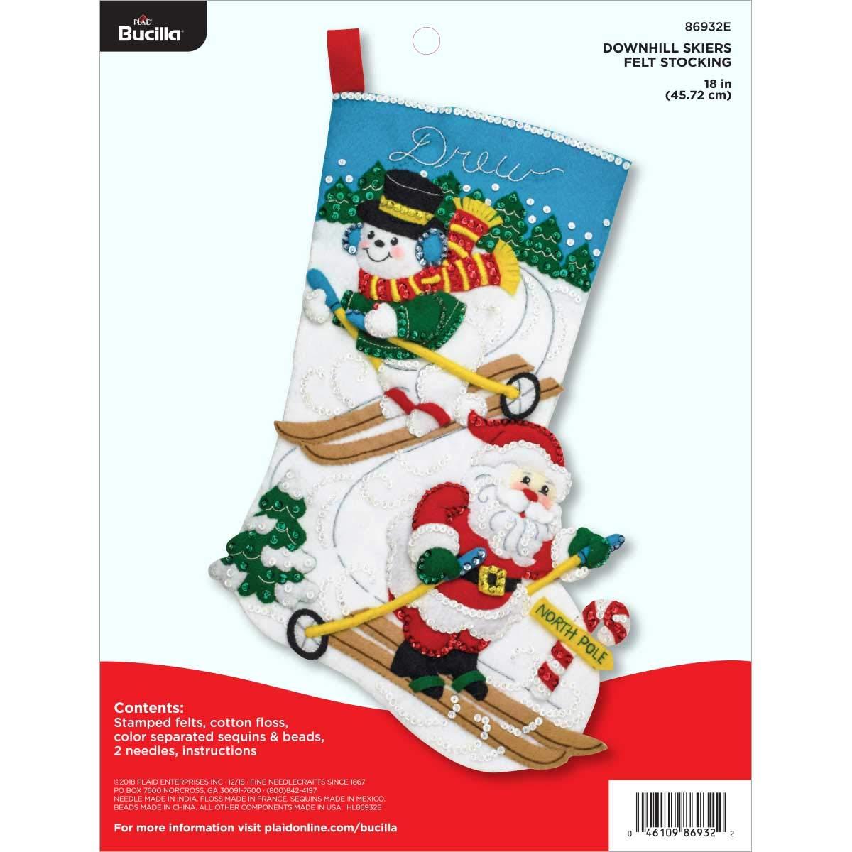 "Bucilla Felt Stocking Applique Kit, 18"", Downhill Skiers"