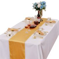LOVWY Pack of 20 Satin Table Runner 12 x 108 Inches for Wedding Party Engagement Event Birthday Graduation Banquet Decoration (Colors Optional) (Golden)