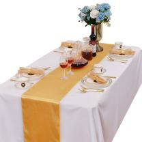 LOVWY Pack of 15 Satin Table Runner 12 x 108 Inches for Wedding Party Engagement Event Birthday Graduation Banquet Decoration (Colors Optional) (Golden)