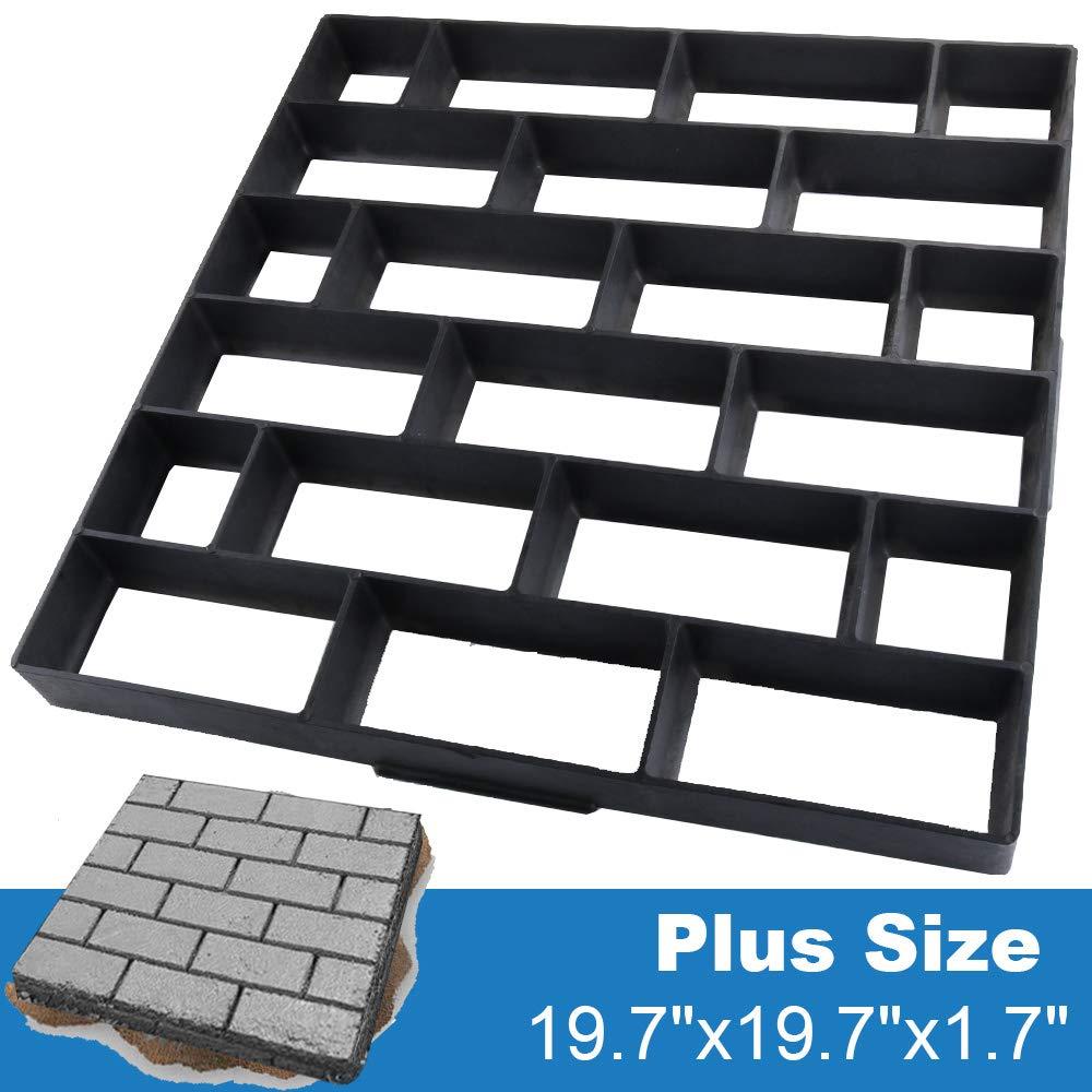 "CJGQ Plus Size 19.7""x19.7""x1.7"" Concrete Molds Walk Maker Reusable Path Brickform Stepping Stone Paver Lawn Patio Yard Garden DIY Walkway Pavement Moulds (Cross Bricks)"