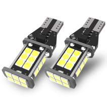 YITAMOTOR 2x 921 LED Reverse Light Bulbs, T15 906 W16W 912 LED Replacement Bulb for Backup/Back Up Lights, White Extremely Bright 1200 Lumens, Canbus Error Free, 24-SMD 3030 PX Chipsets, DC 12V 4.5W