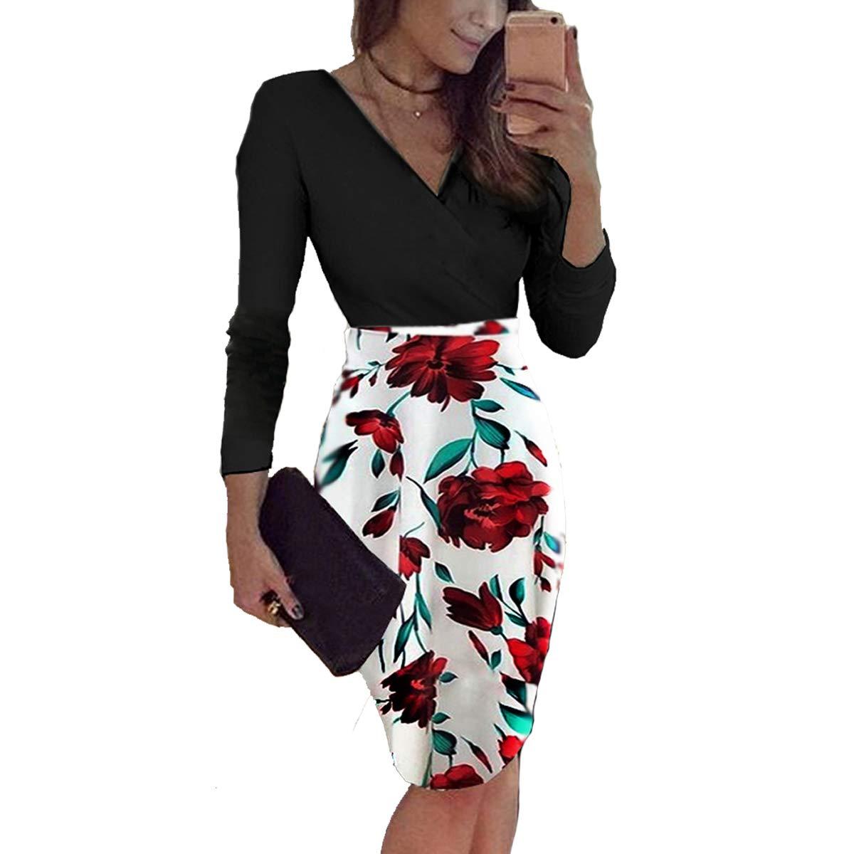 ONine Women Deep V Neck Long Sleeve Slim Bodycon Wrap Tunic Pencil Midi Dress
