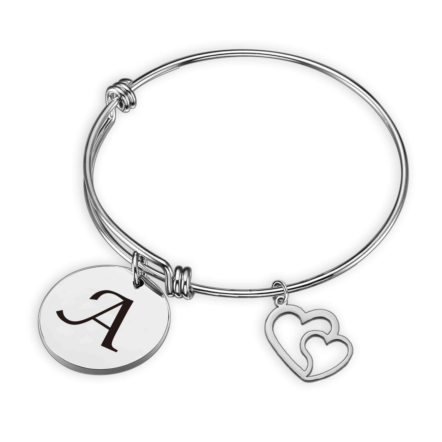 SIDIMELO Initial Bracelet Letter Bracelet with Heart Charm Personalized Jewelry Memory Bracelet Birthday Gifts Gift for her Birthday Christmas Jewelry Gift