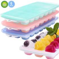 Magicdo Ice Cube Trays,3 Packs Food Grade Flexible Silicone Ice Cube Molds Tray with Lids, Easy Release Ice Trays Make 63 Ice Cube, Stackable Durable and Dishwasher