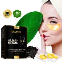 Belvizo Under Eye Mask, 24K Gold w/Hyaluronic Acid + Plant Collagen, Soy Protein, Grapefruit Extract For Anti Dark Circles, Eye Bags, Puffiness, Anti Wrinkle |Hydro Gel Under Eye Patches. 10 Pairs