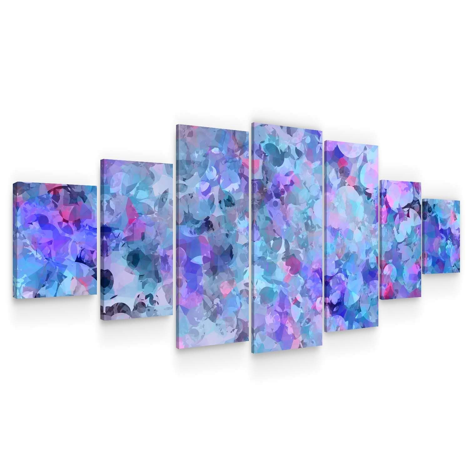 STARTONIGHT Huge Canvas Wall Art Lovely Blue Abstract - Large Framed Set of 7 40 x 95 Inches