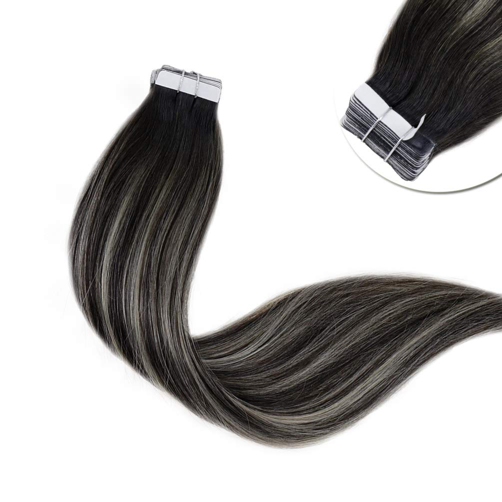 LaaVoo 14 inch Real Human Hair Tape in Extension Ombre Color Off Black Fading to Silver Double Sided Tape in Skin Weft Invisible Hair Extensions 20 Pcs 50g/Package (#1b/silver)