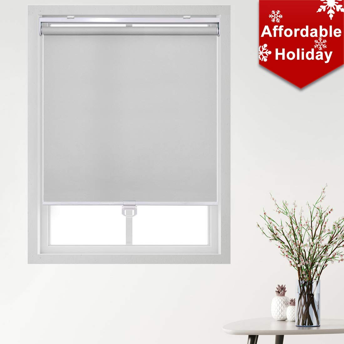 """Keego Cordless Roller Blinds and Shades for Windows - Blackout Spring Roller Shades - Cordless Privacy Room Darkening Window Cover for Home & Office [Gray 100% Blackout,24.5"""" W x 70"""" H(Inch)]"""