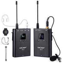 K&F Concept UHF Wireless Lavalier Microphone System Lavalier Lapel Mic with Rechargeable Bodypack Transmitter & Receiver for Video Recording, Interview, Live, Conference, Teaching, Vlogging, YouTube