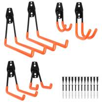 Garage Hooks Steel Utility Double Hooks Heavy Duty Garage Storage Hooks Hangers U Hooks Garage Tool Storage Organizer for Organizing Power Tools, Ladders, Bulk items, Bikes, Ropes,6packs